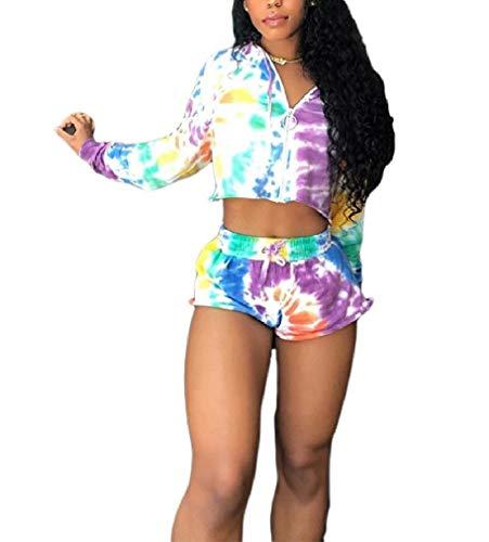 CuteRose Women Two Piece Zip Hoodie Multi-Colored Sports Joggers Jog Sets Multi XL