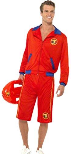 Kostüm Mafia Italienne - erdbeerloft - Herren Karnevalskomplettkostüm Baywatch Retter , M, Rot