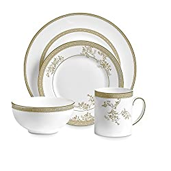 Wedgwood Vera Lace Gold 4 Piece Setting, White