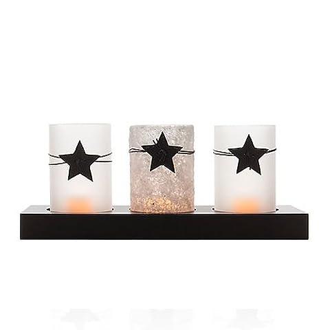 Dekoratives Tablett mit 3 LED Teelichter und Gläsern (inkl. Timer) - Kerzenhalter/Teelichthalter (Herz Glas Teelicht)