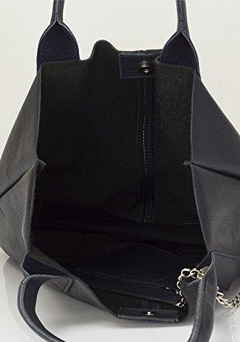 """Show Some Love """"Cecilia"""" Italienische Damen-Handtasche Henkel-Tasche Shopper Echt-Leder made in Italy Blau"""