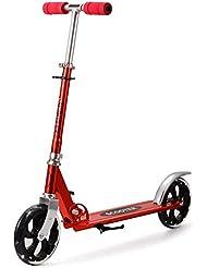 Patinete, sondereu Altura Ajustable Plegable Hasta 100kg Farbwahl Kickboard con 2Cilindro de tracción para adultos y niños, 205mm Wheel, rojo