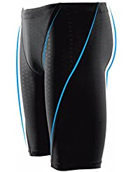 CAMTOA hombre Solid Bañador, bañador bañadores, stretch-Fit, Inhibidores, concurso traje de baño para playa océano buceo natación, color negro, tamaño large