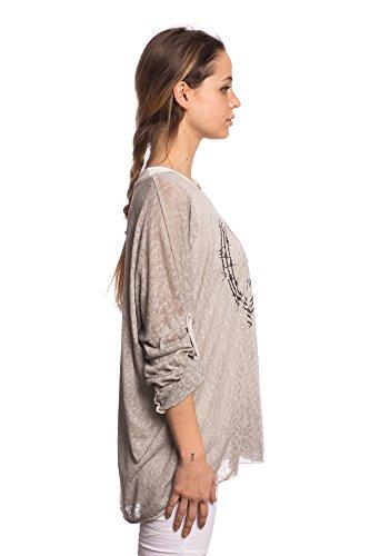 Abbino IG002 Shirts Tops - Made in Italy - Viele Farben - Übergang Frühling Sommer Herbst Feminin Flexibel Festlich Dynamisch Komfortabel T-Shirts Lässig Baumwolle Sexy Sale Elegant Grau (Art. 7133-1)