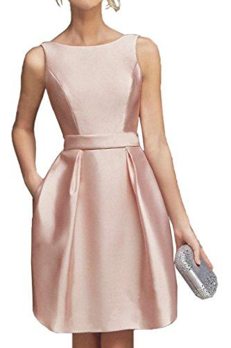 La_Marie Braut Perlen Rosa Hundkragen Kurz Satin Cocktailkleider Abendkleider Partykleider Mini-44 Perlen Rosa