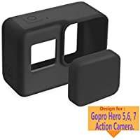 TASLAR Silicone Protective Cover Soft TPU Case Accessories and Lens Cap Protector Cover for Gopro Hero 5/6 / 7 Action Camera (Black)