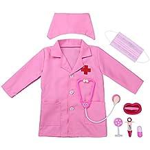 iEFiEL Uniforme de Trabajo para Unisex Niños Bata Blanca Abrigo de Laboratorio Farmacia Disfraz de Doctor
