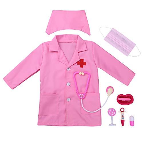 iEFiEL Uniforme de Trabajo para Unisex Niños Bata Blanca Abrigo de Laboratorio Farmacia Disfraz de Doctor Cirujano Enfermera Chaqueta para Halloween Rosa 5-6 años