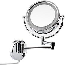 AMZDEAL Espejo de Maquillaje de Bano con Luz LED Montaje en Pared 7x de Aumento, Doble Cara Giratoria de 360 °, Acero Inoxidable y Acabado Cromado para Baño