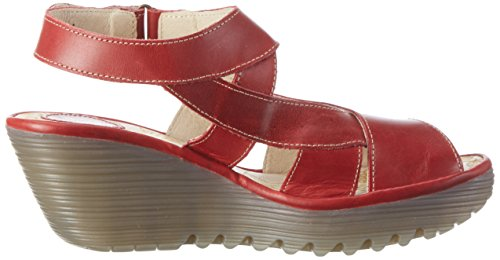 FLY London Damen Yona737fly Wedge Sandalen Rot (red 002)