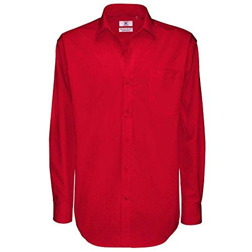 B C Collection Herren & Sharp Smart Work Shirt Long Sleeve Rot - Deep Red