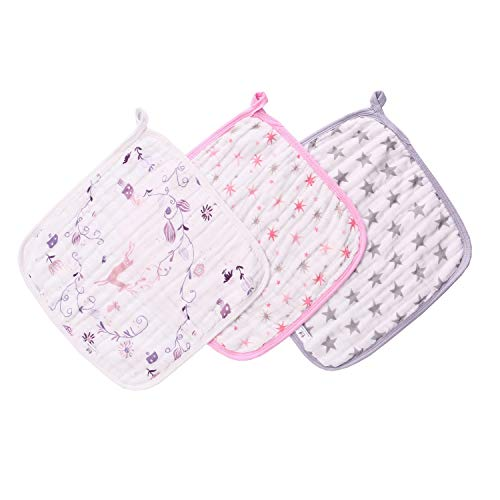 Miracle Baby Débarbouillette avec 3 couches, carrés de pur coton pour bébé, serviette de lingettes de mousseline bain pour bébé très douce pour les peaux sensibles, 27 x 27 cm (3 paquet)