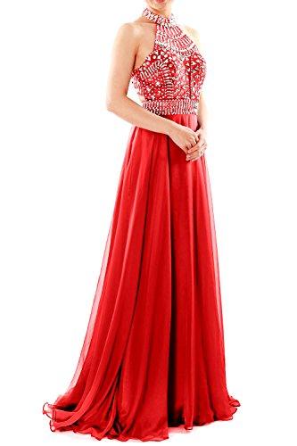 MACloth Women Halter High Neck Sleeveless Long Prom Party Dress Evening Gown (EU58, Red)