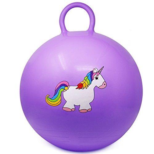 com-four® Hüpfball mit Einhornmotiv, Sprungball für Kinder in lila, Ø 37 cm (01 Stück - lila)