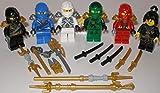 Lego Ninjago Figuren 6 unterschiedliche Kai Lloyd Zane Jay Cole und NYA und bmg2000 Aufkleber