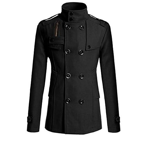 Vertvie Men Parka Coat Wool Blended Slim Fit Double Breasted Jacket Overcoat Long Fall Winter (M, Short Coat Black)