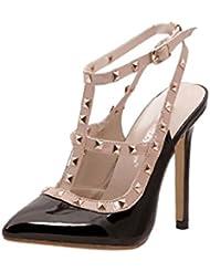 Sandalia Zapatos Tachonado Atractivas Del Dedo Pie Puntiagudo Pico De Talón Alto Talón Bombea Para Mujer Señora