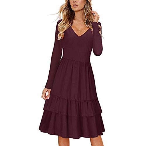 Kostüm Tasche Tiffany - Damen-Kleid Normallack-langes Hülsen-V-Ansatz Kleid-hohe Taillen-Rüsche-beiläufiges Knie-langes A-Wort-Taschen-Kleid Sonojie
