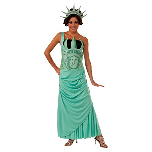 Lady Womens Liberty Kostüm - Lady Liberty Damenkostüm - STD (36 - 42) - Miss Liberty Outfit USA Faschingskostüm Amerika Statue Verkleidung Damen Wahrzeichen New York Karnevalskostüm Freihheitsstatue Kostüm