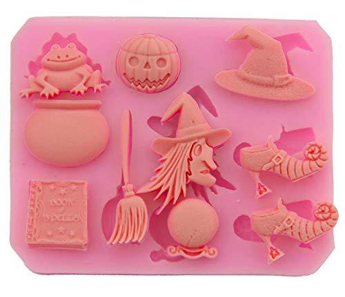 TLZR Halloween Party Silikon Schimmel Kuchen dekorieren Werkzeug Zucker Kekse Hat Kürbis Hexe Gebäck Backen