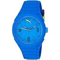 Puma Gummy Quartz Watch With Blue Dial Analog Display and Blue Silicone Strap Pu103592003, For Unisex