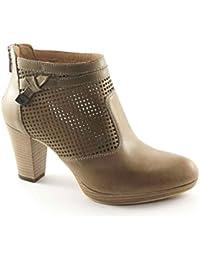 Jardines Black 17010 zapatos de color beige agujeros zip mujer botines de tacón