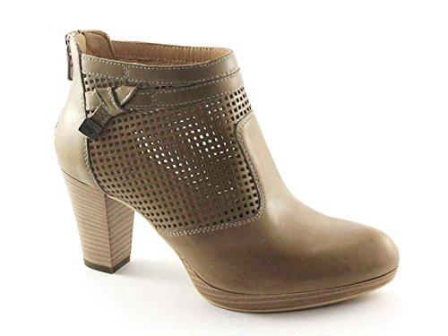 BLACK JARDINS 17010 chaussures beige femme bottines talon trous zip Beige