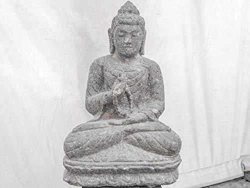 wanda collection Estatua jardín Exterior Buda Sentado Piedra volcánica Collar 50 cm: Amazon.es: Jardín