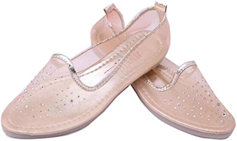 Gaorui Sommer transparent Damenschuhe Ballerinas Schuhe Ballet Tanzschuhe weich Sohle Blau Beige