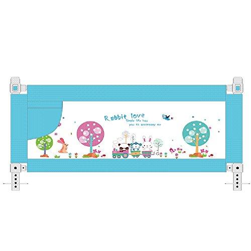 Riel de Cama Gris Extra Alto para niños pequeños, Plegable para Cuna para niños (Color : Azul, Tamaño : 180cm)