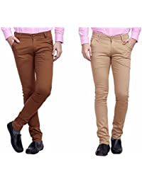 Nimegh Brown And Beige Color Cotton Casual Slim Fit Trouser For Men's (Pack Of 2)