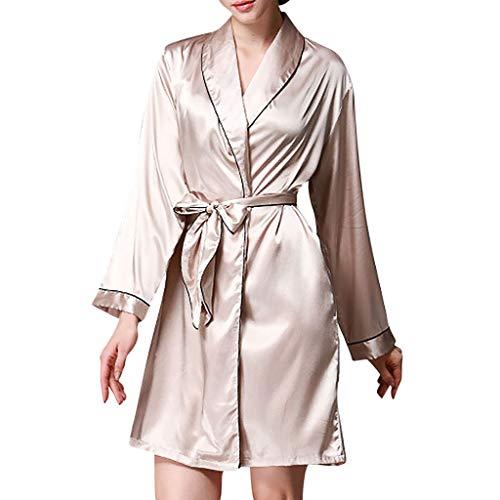 Damen Erotische Dessous FGHYH Mode Silk Womens Solid Color Satin Robe Pyjamas Nachtwäsche Bademantel mit Gürtel(L, Khaki) -