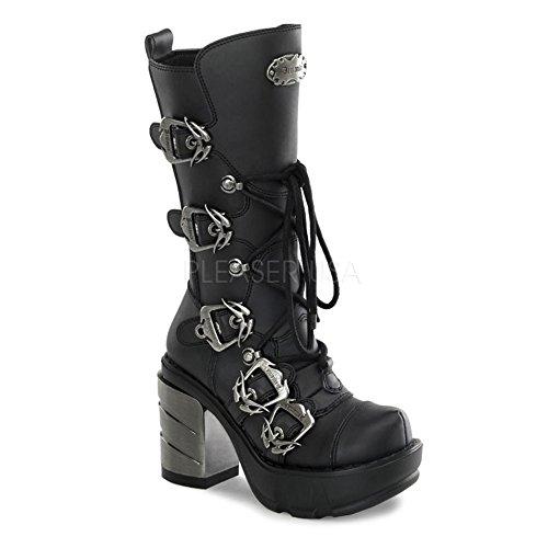 Metall-heel Stiefel (Demonia Sinister-203 - Gothic Industrial Metall High Heels Stiefel Schuhe 36-43, Größe:EU-39 / US-9 / UK-6)