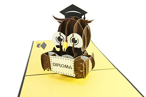 PopLife Cards Graduación búho 3d pop-up tarjeta de felicitación - anuncio de graduado, postgrado, ceremonia de diploma invitar - pliegues planas para correo - felicitaciones, tarjeta de inicio, clase