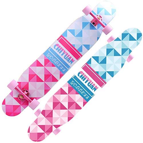 Skateboard Longboard Allrad Skateboard Anfänger Erwachsene Junge Mädchen Bürste Street Dance Dance Board Professioneller Roller (Color : PINK, Size : 118 * 23 * 13CM)