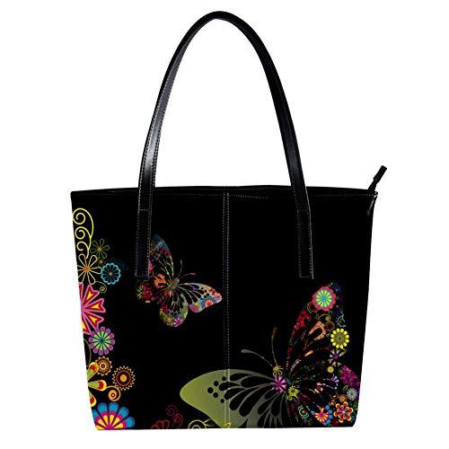Women's Bag Shoulder Tote handbag with Butterflies Designs Print Zipper Purse PU Leather Top-handle Zip Bags -