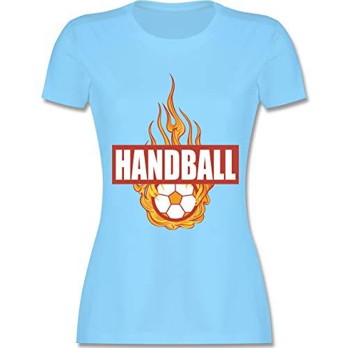 Handball WM 2019 - Handball Flammen - S - Hellblau - L191 - Damen Tshirt und Frauen T-Shirt