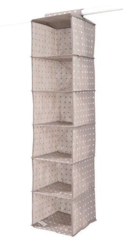 COMPACTOR Portatutto a sospensione per Scarpe e Vestiti, 6 scomparti, Fissaggio con velcro, Fino a 6 kg, Marrone 'RIVOLI', Polipropilene, 30 x 30 x H. 128 cm, RAN4381_BROWN