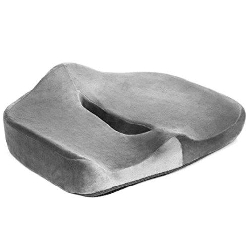 Per Ilh® Memory Foam Cuscino per sedile auto sedile sedia a rotelle ecc.-Velour fibra, fondo antiscivolo 45x 38,1x 13cm-kaiki Sedile Pad per sciatica prostata emorroidi lombalgia sul coccige Cuscino (Grigio)