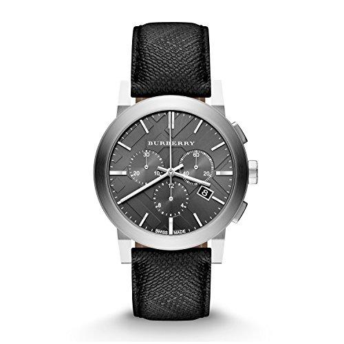 Burberry BU9362–Montre pour hommes, bracelet en cuir couleur gris