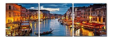 Wieco Art - Canvas Prints for Wall Decor - Night view of Venice, 3 Panels Modern Paintings Canvas Wall Art Canvas Print for Home Decoration, Stretched and Framed Artwork, Landscape Picture Prints on Canvas Art Print 20 by 20 inch by 3pcs P3RLA012