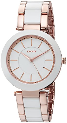 DKNY Women's 'Stanhope' Quartz Stainless Steel and Ceramic Casual Watch, Color:Rose Gold-Toned (Model: NY2500)