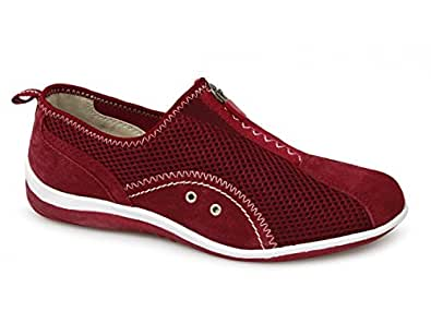 Ladies Red Zip and Elastic Gusset Leisure Casual Shoe - Red - size UK Ladies Size 9