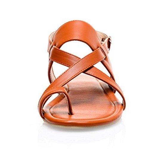 COOLCEPT Damen Mode Slip On Sandalen Flach Niedrig Absatz Singback Schuhe Gr Braun