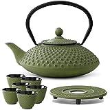 Bredemeijer Teekanne asiatisch Gusseisen Set grün 1.25 Liter mit Tee-Filter-Sieb mit Untersetzer und Teebecher (6 Tassen)