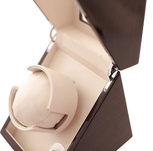 Pateker® Ebony Wood Finish Single Watch Winder, White Leather Display Box Case [100% Handmade]