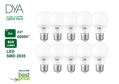 Set di 10 LAMPADINE GOCCIA A60 LED PEGASO BEST PRICE , 9W, E27, misure ø60x113, 6000K, Luce BIANCA,860 Lm, sostituisce 72W, raggio di illuminazione 230°