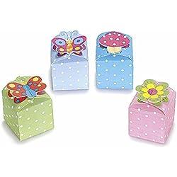 15 cajitas para meter chuches de cartón, de colores con lunares, con cierre con diferentes dibujos, de 4colores Verde