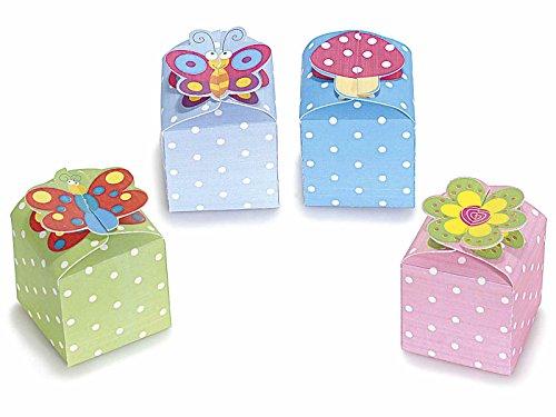 Scatolina (15 pezzi) portaconfetti bonbon goody box in cartoncino colorato con pois con chiusura decorata a scelta in 4 colori (azzurro)