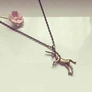 Kurze Kette Einhorn Bronze, unicorn / vintage / ethno / hippie / must have / statement / florabella schmuck